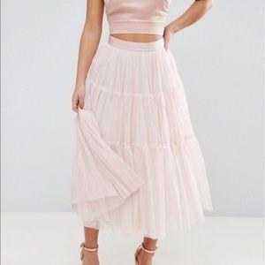 ASOS PETITE Mesh Tiered Pink Midi Skirt